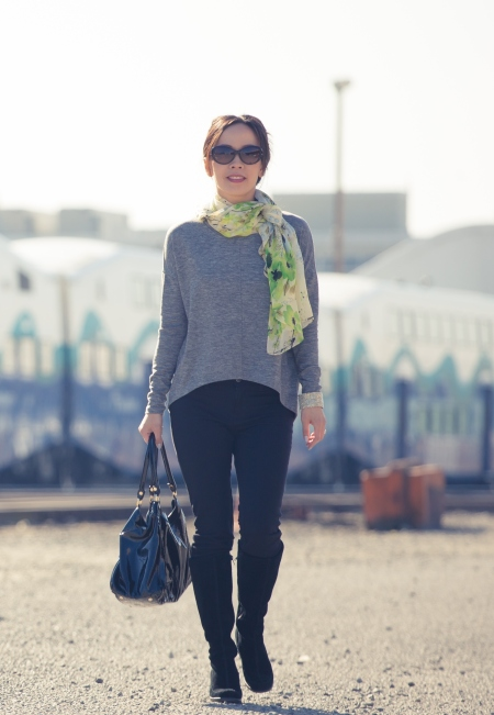 I love how a floral spring scarf can take any outfit into spring. Vera scarf (similar lightweight pretty scarves here), Old Navy top (similar), suede wedge boots (old) similar, Tory Burch 56 mm Cat Eye sunglasses (Nordstrom), and Gucci bag (see below)