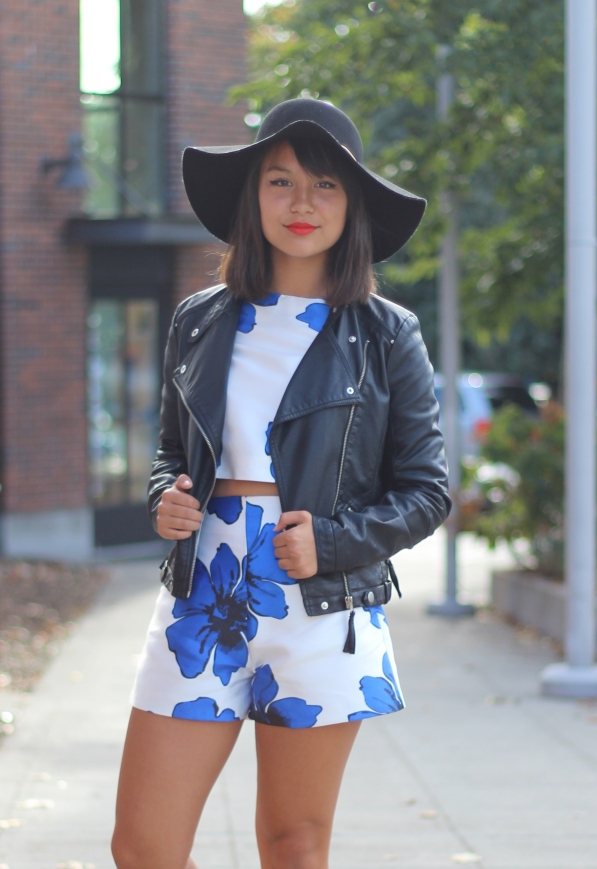 Petite Short Set with Motorcycle Jacket and hat
